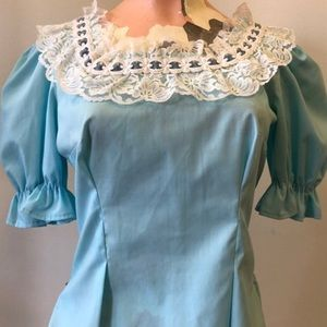 Tops - 1970s Blue Peasant Blouse